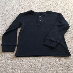 Boys Black Thermal Knit Henley Tee Size 5